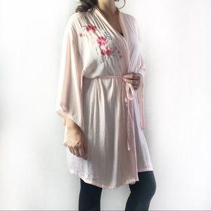 Josie Natori Pink Floral Appliqué Robe Size XL